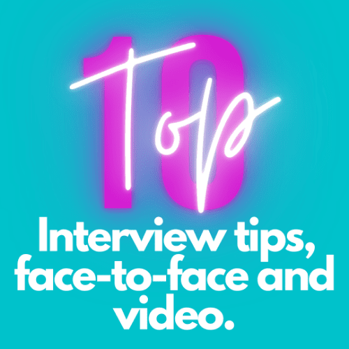 10 ten interview tips in white against blue background