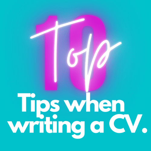 Top 10 Tips for writing a cv in white against blue background